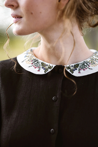 [name_m]Black[/name_m] Linen Dress with Embroidered Floral Collar