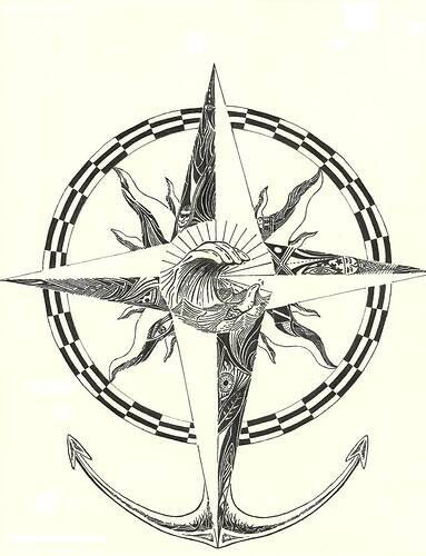 Compass Rose Drawing by scott rathbone | Saatchi Art