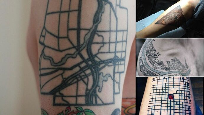 11 Map Tattoos That Pay Tribute to Cities and Their Systems | Map tattoos,  Tattoos, City tattoo